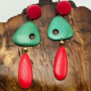 NWT vintage artisan abstract shapes wood Africa